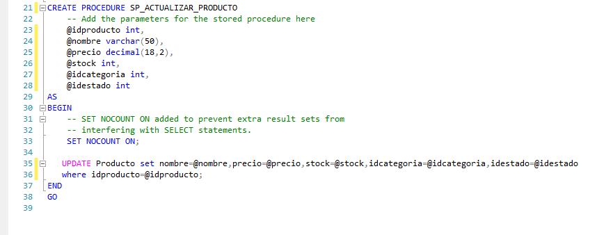 Creando procedimiento almacenado sql server actualizar
