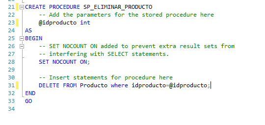 Creando plantilla procedimiento almacenado sql server eliminar