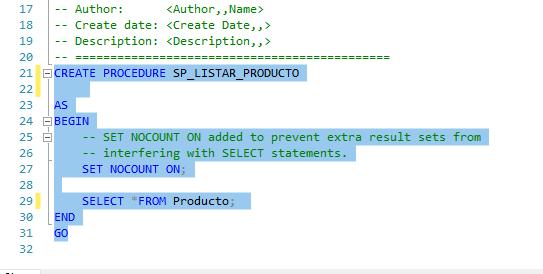 Creando plantilla procedimiento almacenado sql server