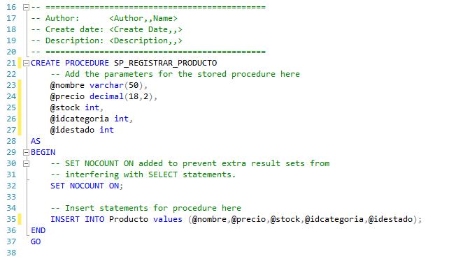 Creando plantilla procedimiento almacenado sql server registrar