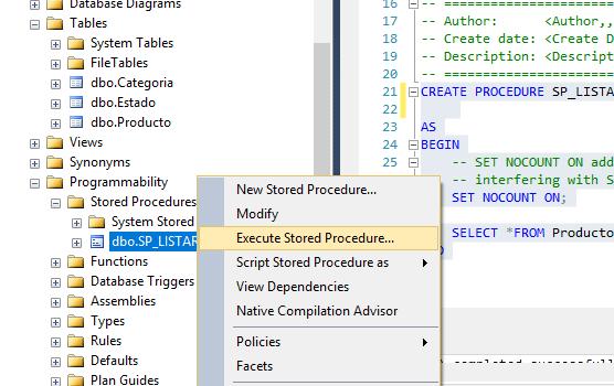 Ejecutando procedimiento almacenado sql server
