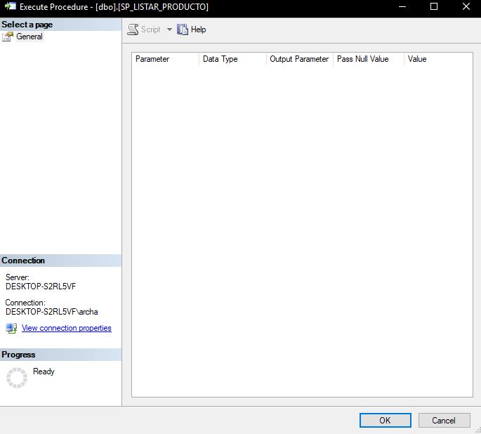 Ejecutar procedimiento almacenado sin parametros sql server