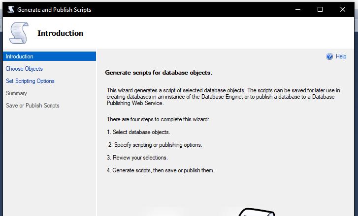Exportar Script de BD en SQL Server