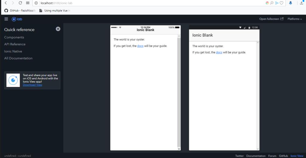 Visualizando nuestra app creada en ionic