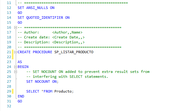 Plantilla procedimiento almacenado sql server listar