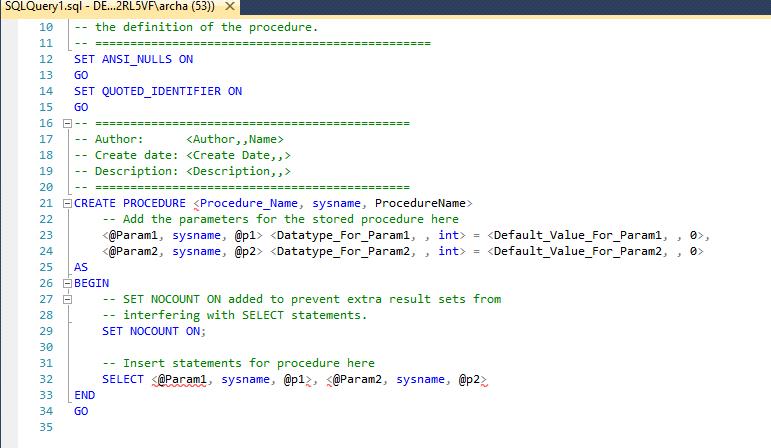 Plantilla procedimiento almacenado sql server