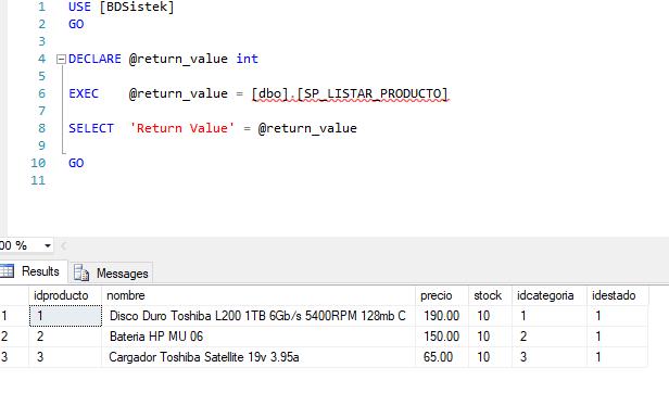 Procedimiento almacenado listar ejecutivo sql server