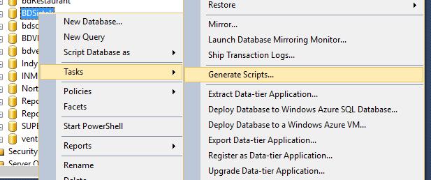 Select task generate scripts