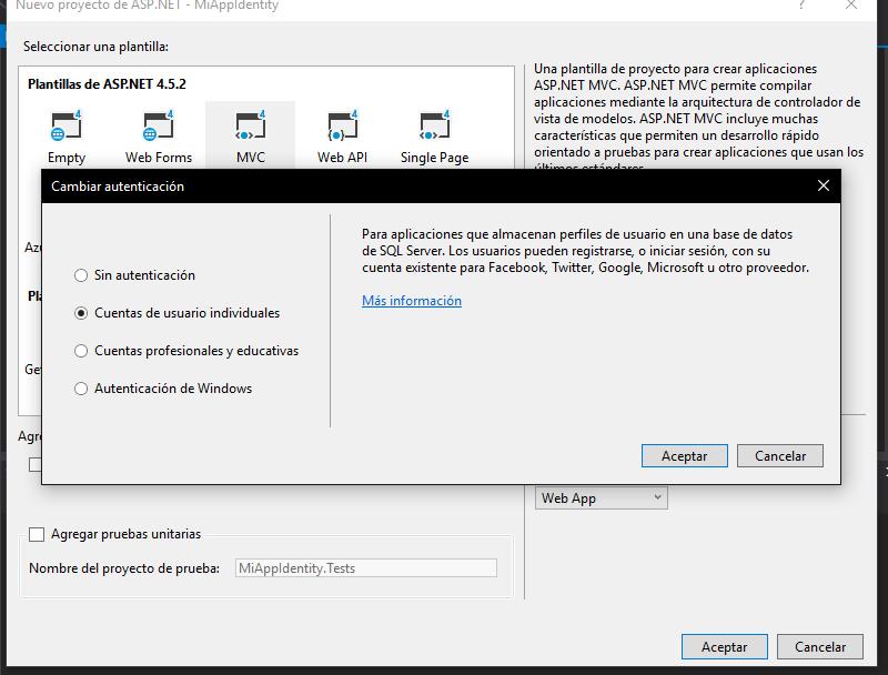 Cuenta usuario individual asp net