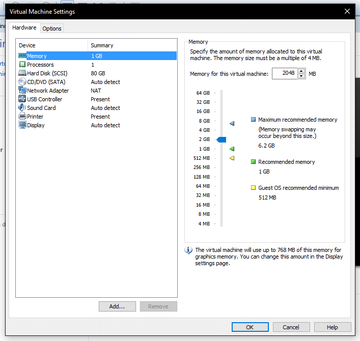 Configuracion memoria maquina virtual