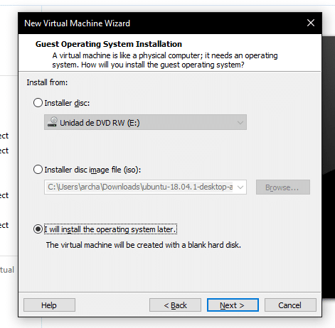 Instalar sistema operativo vmware posterior