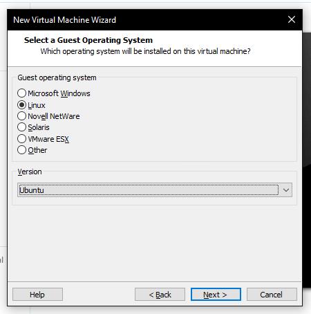 Seleccion sistema operativo vmware