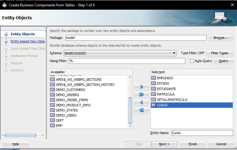 Jdeveloper pass tables query