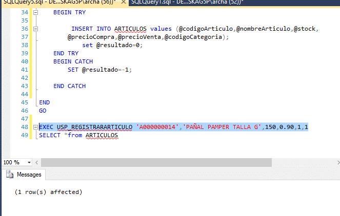 Caso en SQL Server BD Carrito usando Procedimientos Almacenados