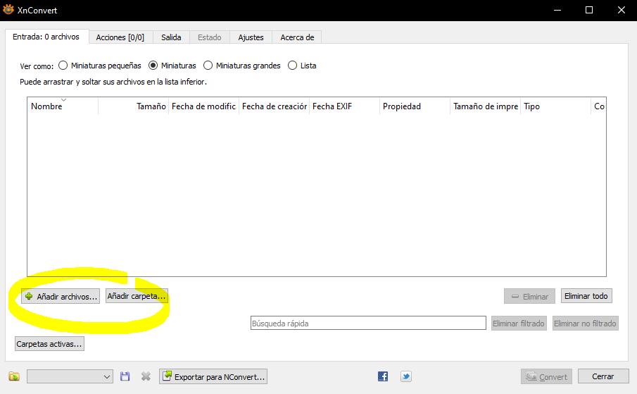 software xnconvert agregar archivos