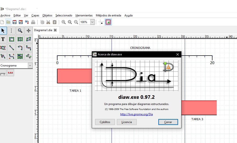 Realizando diagramas y dibujos mediante el software Dia Diagram Editor