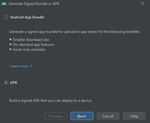 generate apk android