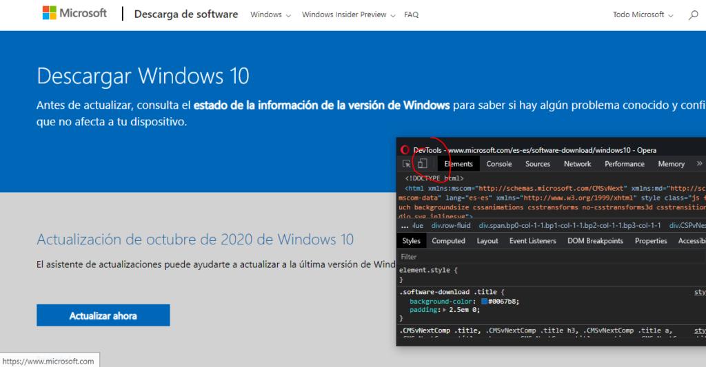 cambiar modo celular descarga windows10