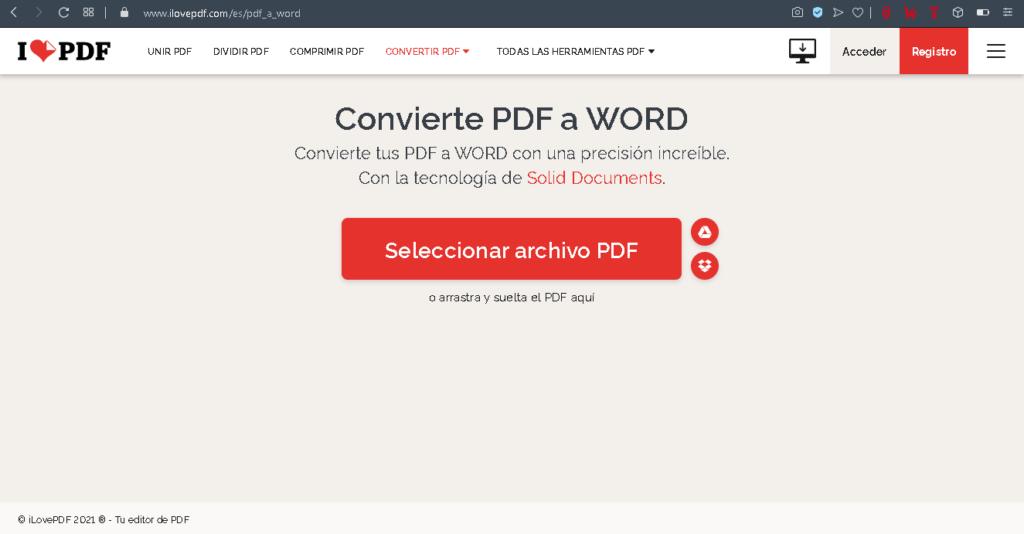ilovepdf software pdf word