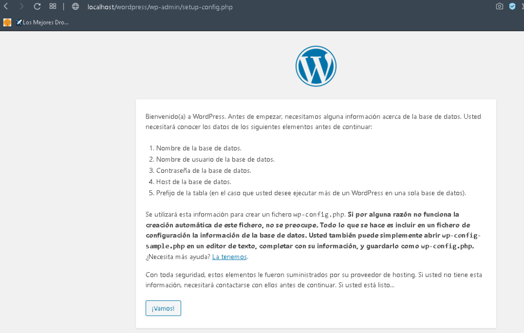 interfaz instalacion wordpress