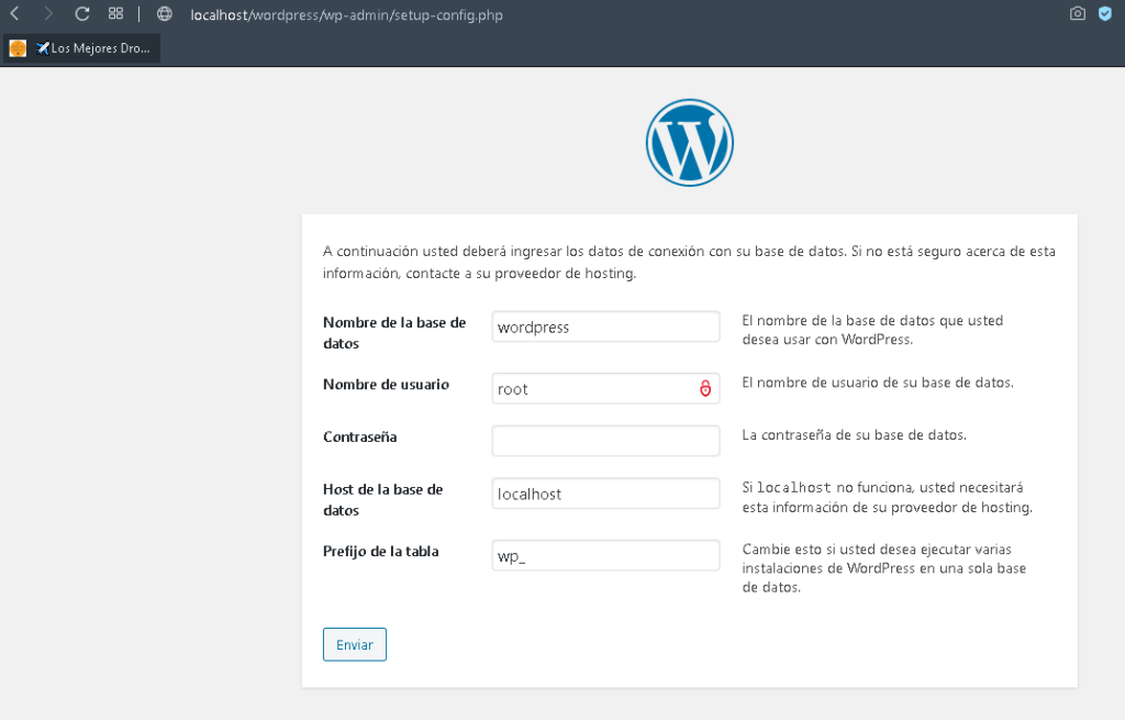 wordpress configuracion bd