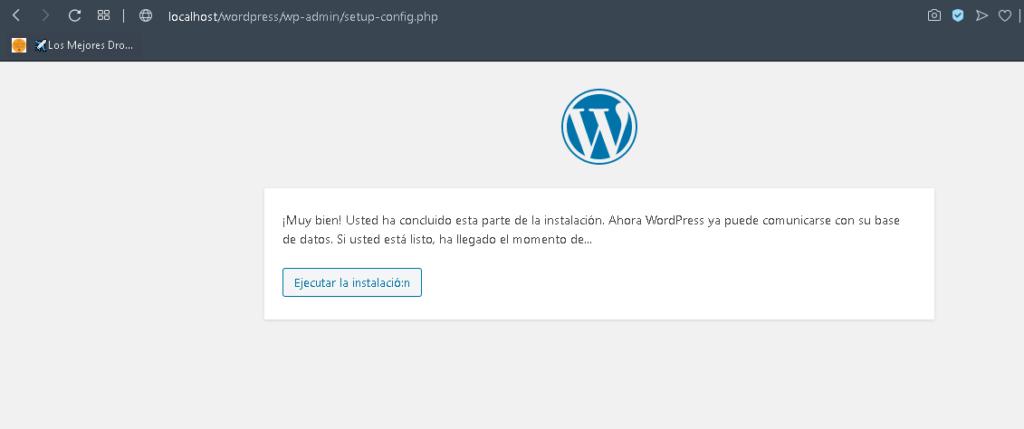wordpress instalacion exitosa