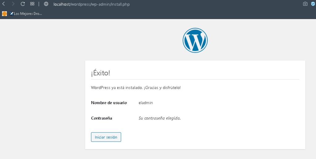 wordpress instalacion hecha