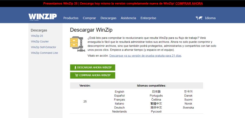 compresion archivos winzip