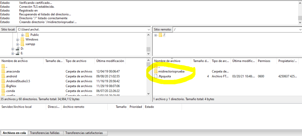 creando directorio filezilla