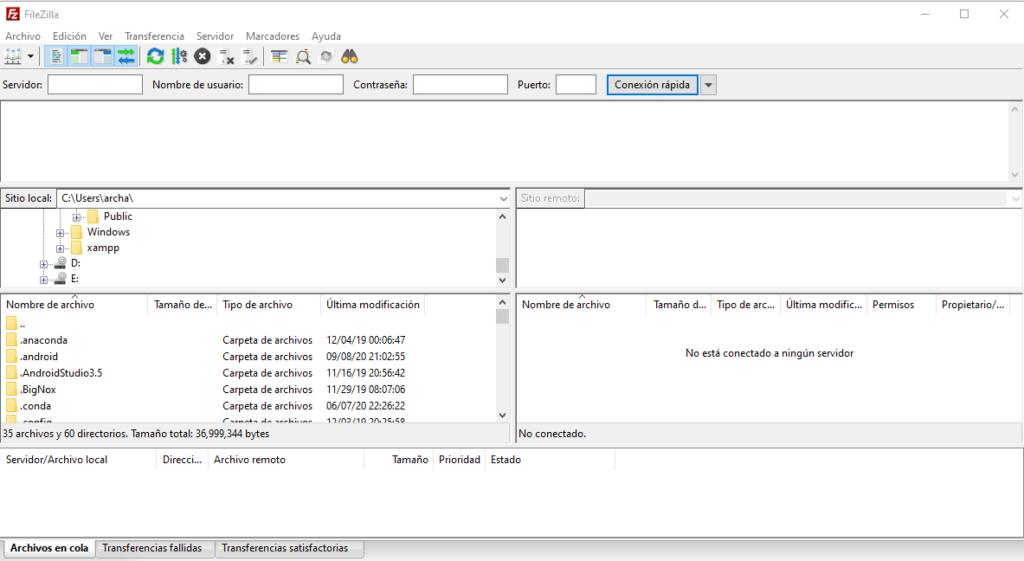 filezilla pantalla principal