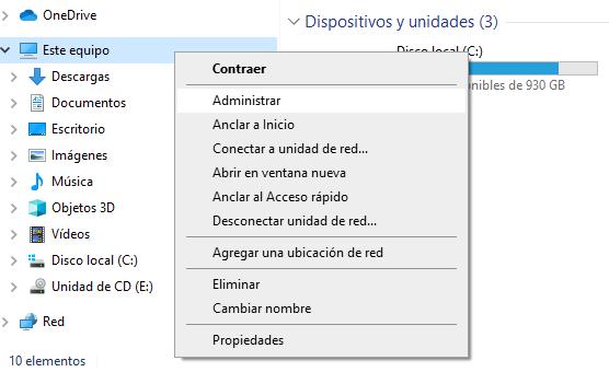 opcion administrar windows10