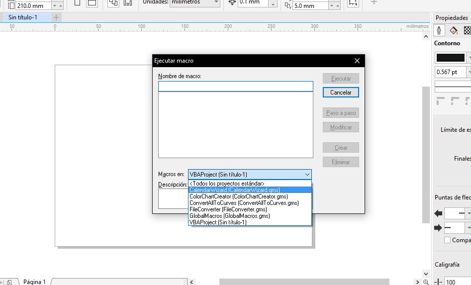 corel draw ejecutar script macro
