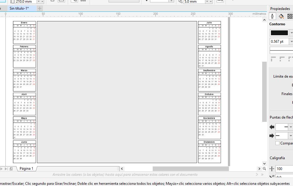corel draw generando calendario