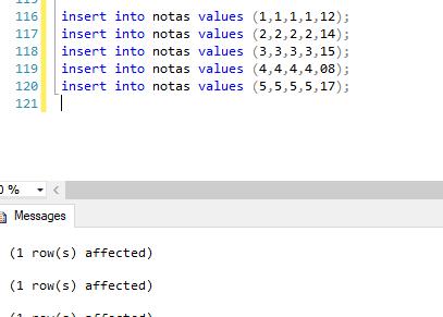 Creat tabla notas bdpracticacalificada