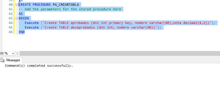 dbnotas procedimiento almacenado crear tabla