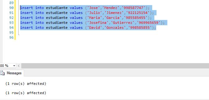 Insertar registros tabla estudiante bdpracticacalificada