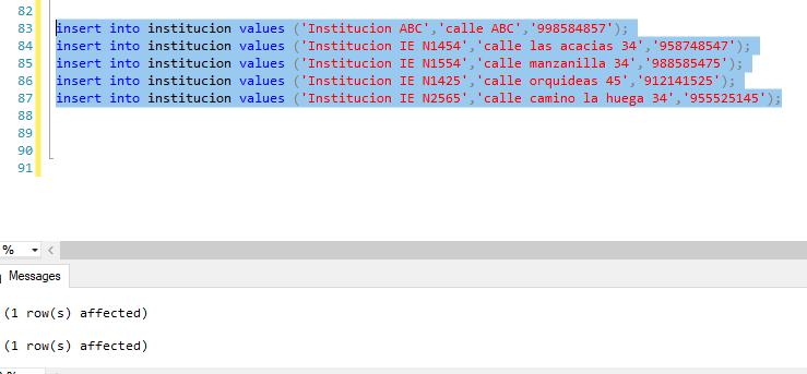 Insertar registros tabla institucion bdpracticacalificada