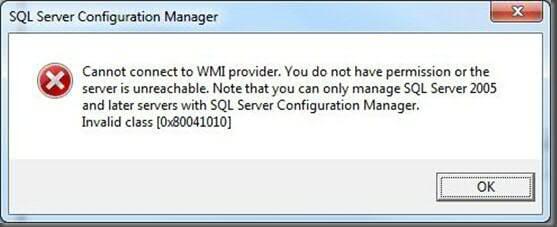 wmi provider error