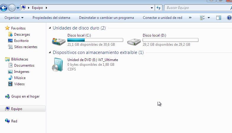 espacio disco windows 7