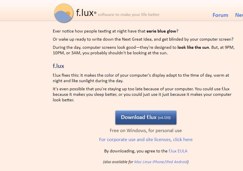 Luz Nocturna usando el software F.lux