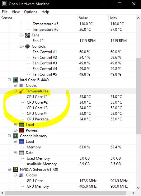 temperatura procesador open hardware monitor